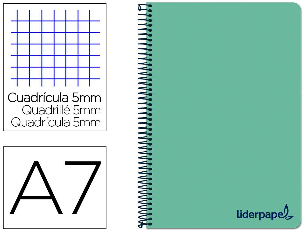 Cuaderno espiral liderpapel a7 micro wonder tapa plastico 100h 90 gr cuadro 5mm 4 bandas color verde
