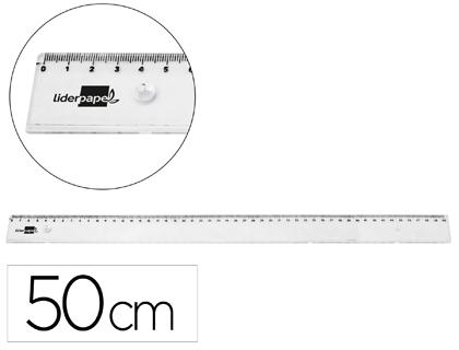 REGLA LIDERPAPEL PLASTICO IRROMPIBLE TRANSPARENTE 50 CM (PACK DE 25)