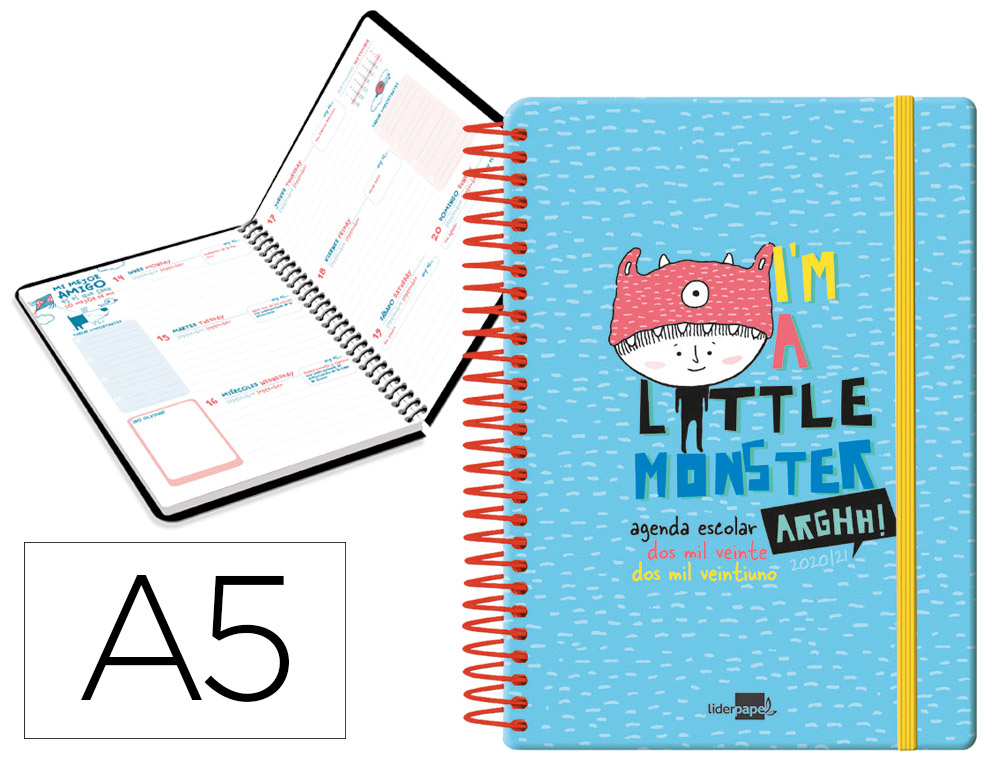 AGENDA ESCOLAR LIDERPAPEL 20-21 FANTASIA DIN-A5 SEMANA VISTA BILINGUE ESPIRAL MODELO LITTLE MONSTER