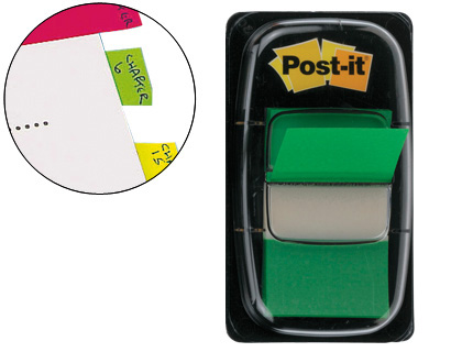 BANDAS SEPARADORAS POST-IT INDEX 3M, 25,4X43,1 MM VERDE DISPENSADOR DE 50 UNIDADES
