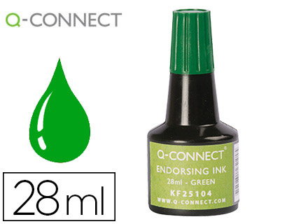 TINTA TAMPON Q-CONNECT VERDE FRASCO 28 ML