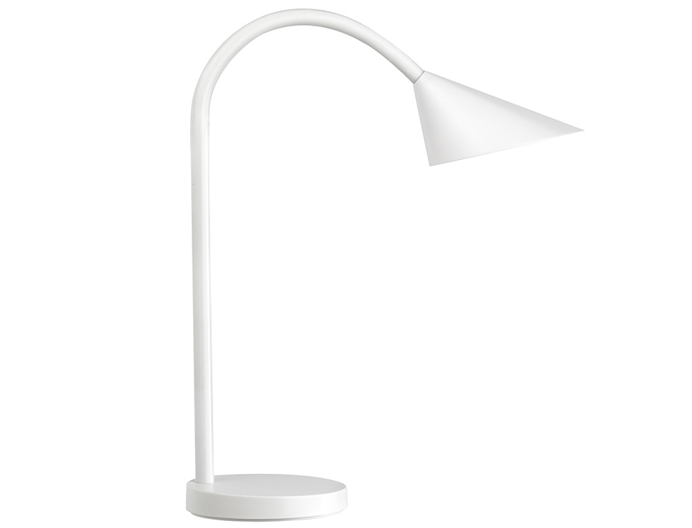 LAMPARA DE ESCRITORIO UNILUX SOL LED 4W BRAZO FLEXIBLE ABS Y METAL BLANCO BASE 14 CM DIAMETRO