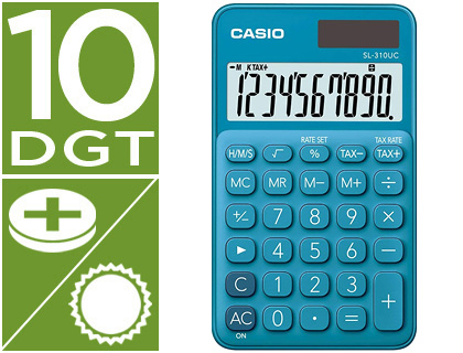 CALCULADORA CASIO SL-310UC-BU BOLSILLO 10 DIGITOS TAX +/- TECLA DOBLE CERO COLOR AZUL
