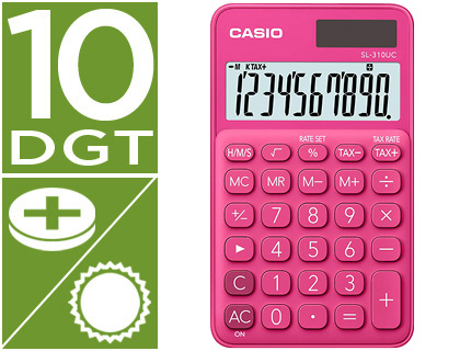 CALCULADORA CASIO SL-310UC-RD BOLSILLO 10 DIGITOS TAX +/- TECLA DOBLE CERO COLOR FUCSIA