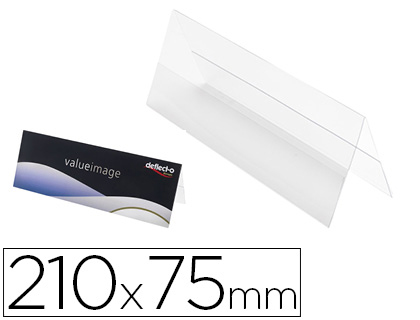 IDENTIFICADOR SOBREMESA DEFLECTO PORTANOMBRE DIN A5 DOBLE CARA PVC FLEXIBLE HORIZONTAL 210X75X35 MM