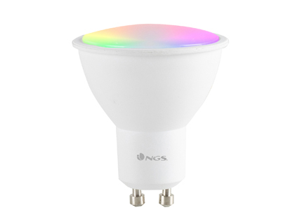 BOMBILLA NGS BULB WIFI LED GLEAM 510C HALOGENA COLORES 5W 460 LUMENES BASE GU10 REGULABLE EN INTESIDAD