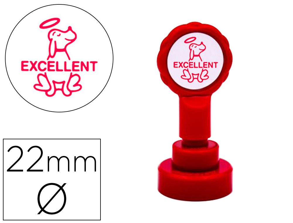 SELLO ARTLINE EMOTICONO EXCELENTE COLOR ROJO 22 MM DIAMETRO