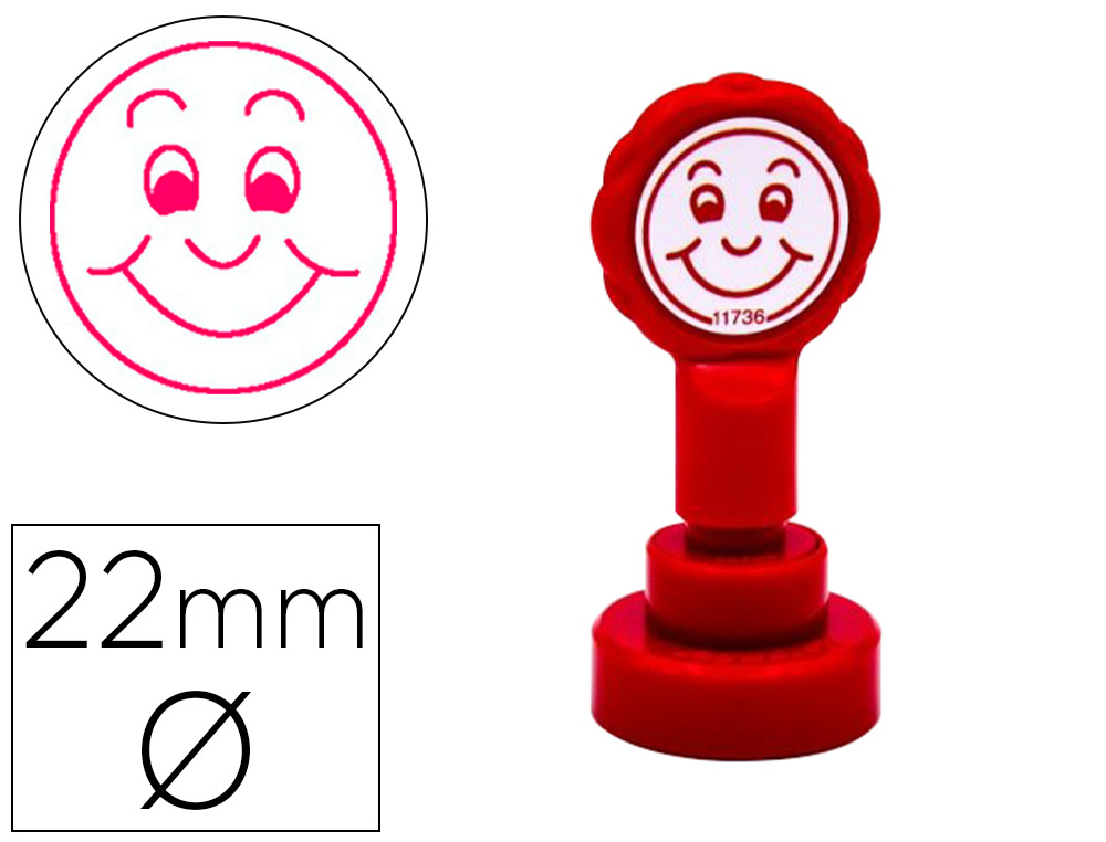 SELLO ARTLINE EMOTICONO SONRISA COLOR ROJO 22 MM DIAMETRO