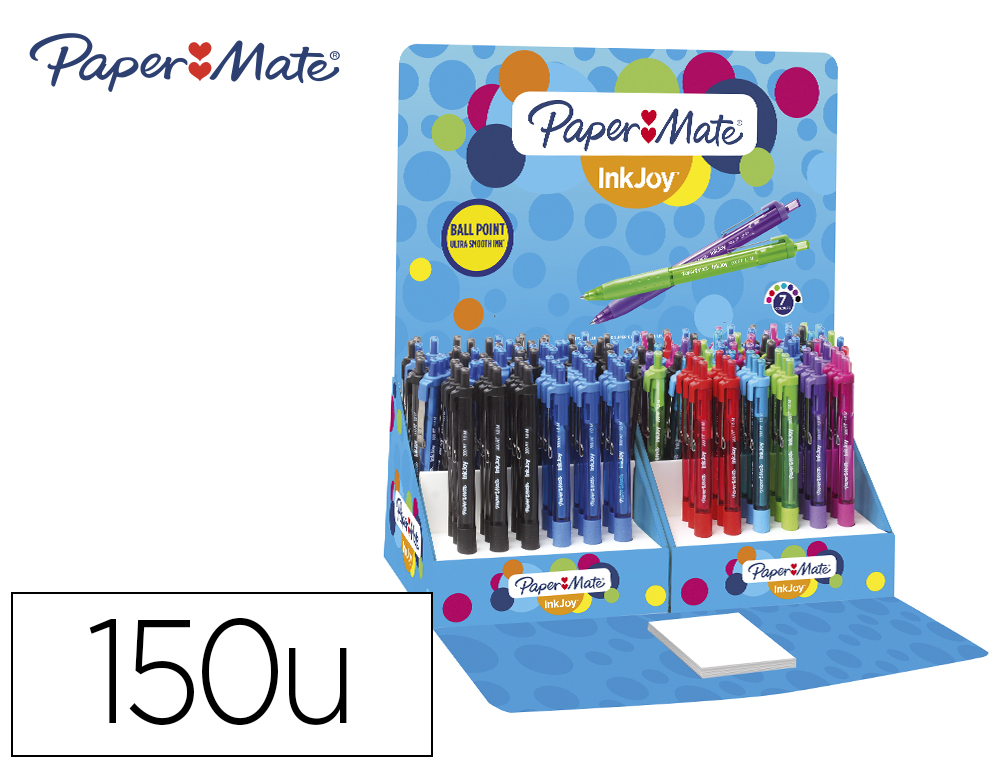 BOLIGRAFO PAPER MATE INKJOY 300 RETRACTIL PUNTA MEDIA TRAZO 1 MM EXPOSITOR DE 150 UNIDADES 7 COLORES SURTIDOS
