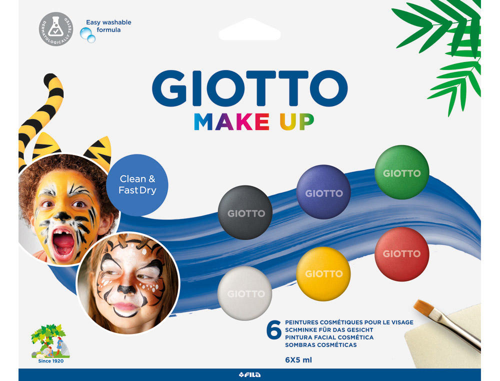 SET GIOTTO MAKE UP PINTURA FACIAL 6 BOTES 5 ML COLORES CLASICOS