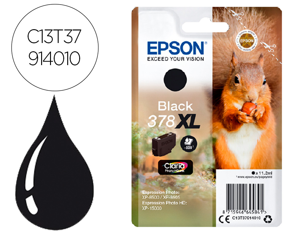 INK-JET EPSON 378 XL EXPRESSION HOME XP-8605 / 8606 / XP-15000 / XP-8500 / 8505 NEGRO 500 PAG