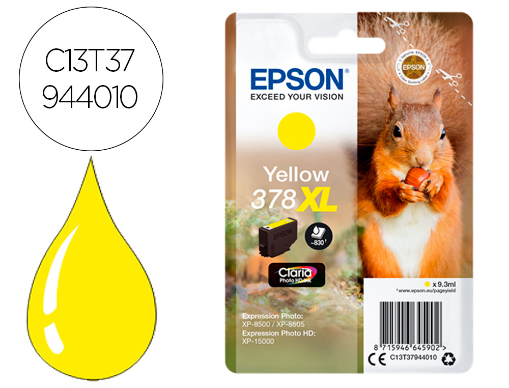 INK-JET EPSON 378 XL EXPRESSION HOME XP-8605 / 8606 / XP-15000 / XP-8500 / 8505 AMARILLO 830 PAG