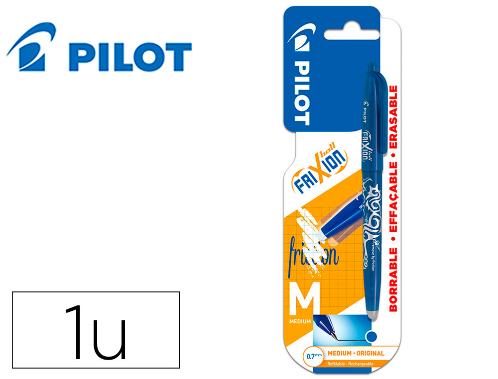 BOLIGRAFO PILOT FRIXION BALL BORRABLE 0,7 MM PUNTA MEDIA AZUL EN BLISTER
