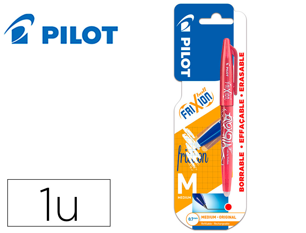 BOLIGRAFO PILOT FRIXION BALL BORRABLE 0,7 MM PUNTA MEDIA ROJO EN BLISTER