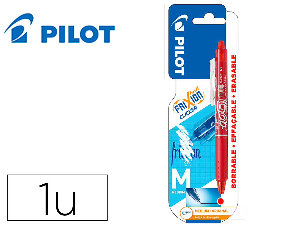 BOLIGRAFO PILOT FRIXION CLICKER BORRABLE 0,7 MM PUNTA MEDIA ROJO EN BLISTER