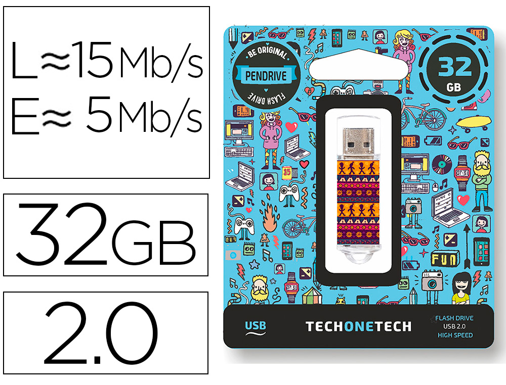 MEMORIA USB TECH ON TECH TRIBAL QUESTIONS 32 GB