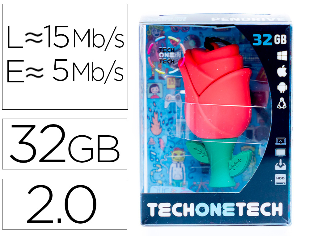 MEMORIA USB TECH ON TECH ROSA ONE 32 GB
