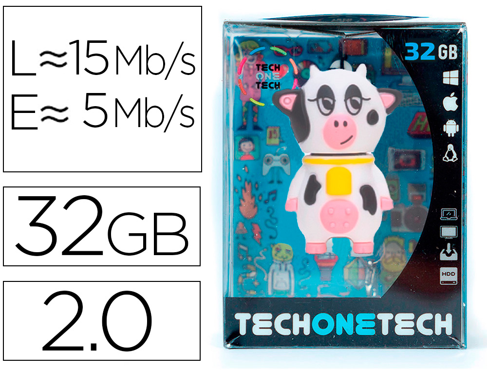 MEMORIA USB TECH ON TECH PACA LA VACA 32 GB