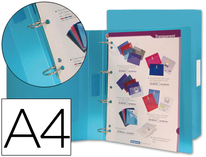 CARPETA LIDERPAPEL 4 ANILLAS 25 MM MIXTAS 43432 POLIPROPILENO DIN A4 AZUL SERIE FROSTY