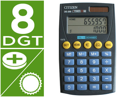 CALCULADORA CITIZEN BOLSILLO DE-200 EURO 8 DIGITOS DOBLE PANTALLA NEGRA EN BLISTER