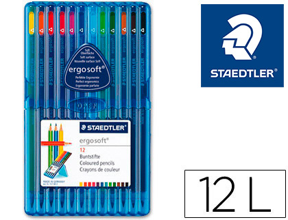 LAPICES DE COLOR STAEDTLER ERGOSOFT ESTUCHE 12 COLORES