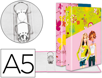 CARPETA LIDERPAPEL 2 ANILLAS 25 MM FANTASIA CARTON FORRADO A5 BARBIE