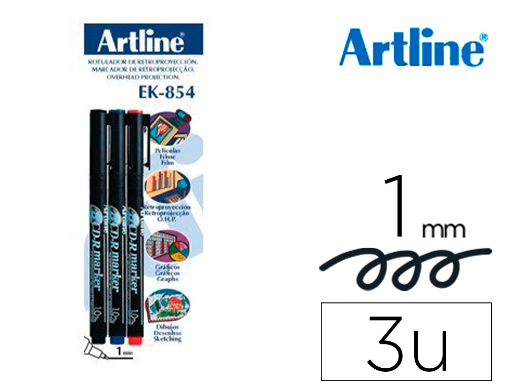 ROTULADOR ARTLINE RETROPROYECCION PUNTA FIBRA PERMANENTE EK-854 1 MM -BLISTER DE 3 (1-NE 1-AZ 1-RO)