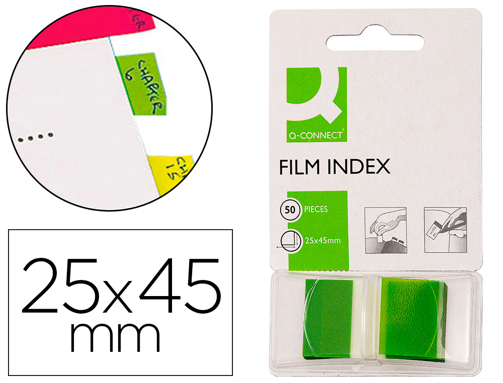 BANDAS SEPARADORAS Q-CONNECT VERDES DISPENSADOR DE 50