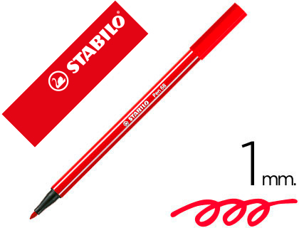 ROTULADOR STABILO ACUARELABLE PEN 68 ROJO CARMIN 1 MM