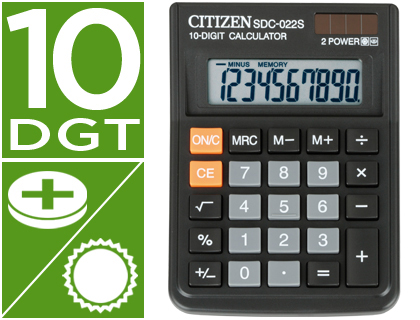 CALCULADORA CITIZEN SOBREMESA SDC-022 S 10 DIGITOS