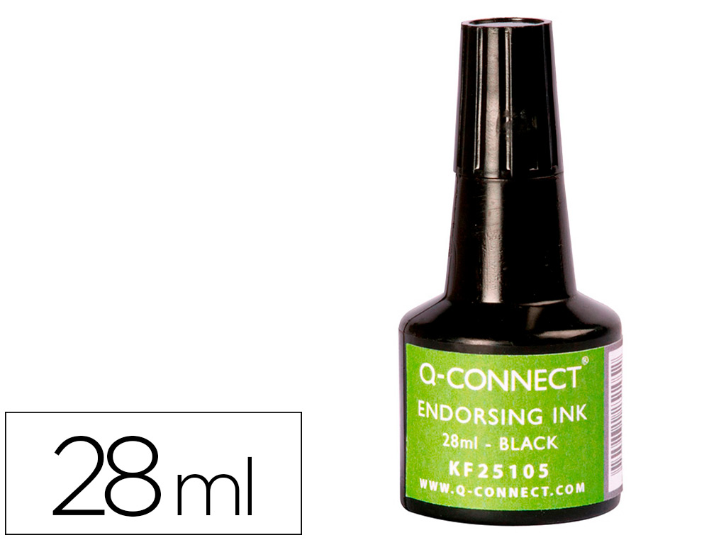 TINTA TAMPON Q-CONNECT NEGRO -FRASCO DE 28 ML