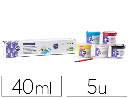 TEMPERA LIDERPAPEL ESCOLAR 40 ML 5 COLORES SURTIDOS + PINCEL