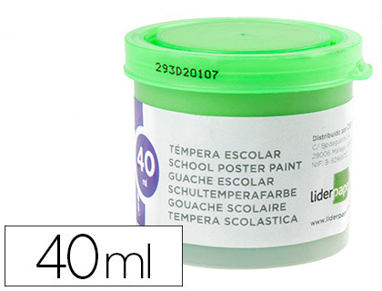 TEMPERA LIDERPAPEL ESCOLAR 40 ML VERDE CLARO