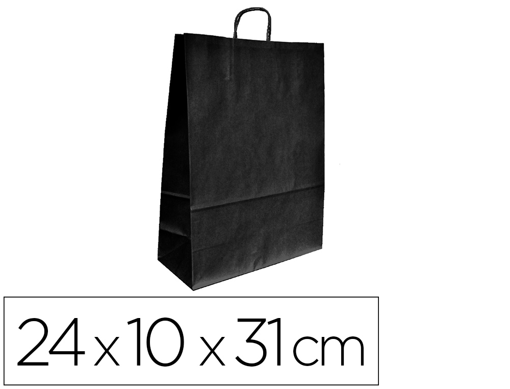 BOLSA KRAFT Q-CONNECT NEGRO ASA RETORCIDA 240X100X310 MM