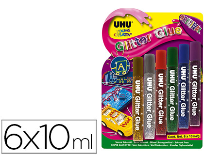 COLA GLITTER UHU CORES ORIGINAIS 6 X 10 ML BLISTER