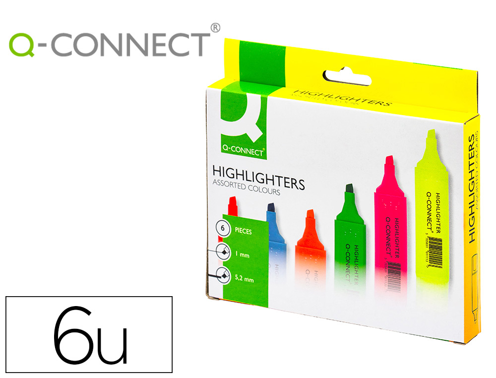 ROTULADOR Q-CONNECT FLUORESCENTE PUNTA BISELADA ESTUCHE DE 6 COLORES