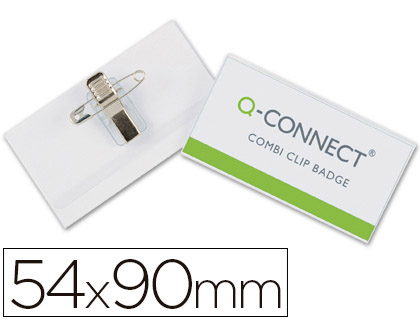 IDENTIFICADOR Q-CONNECT CON PINZA E IMPERDIBLE KF17458 54X90 MM