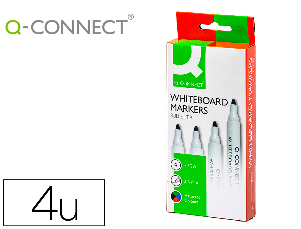 ROTULADOR Q-CONNECT PIZARRA BLANCA 4 COLORES SURTIDOS PUNTA REDONDA 3.0 MM