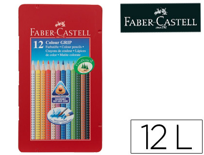 LAPICES DE COLORES FABER CASTELL ACUARELABLE COLOUR GRIP TRIANGULAR CAJA METALICA DE 12 COLORES SURTIDOS