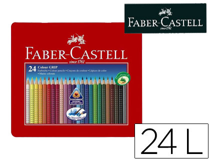 LAPICES DE COLORES FABER CASTELL ACUARELABLE COLOUR GRIP TRIANGULAR CAJA METALICA DE 24 COLORES SURTIDOS