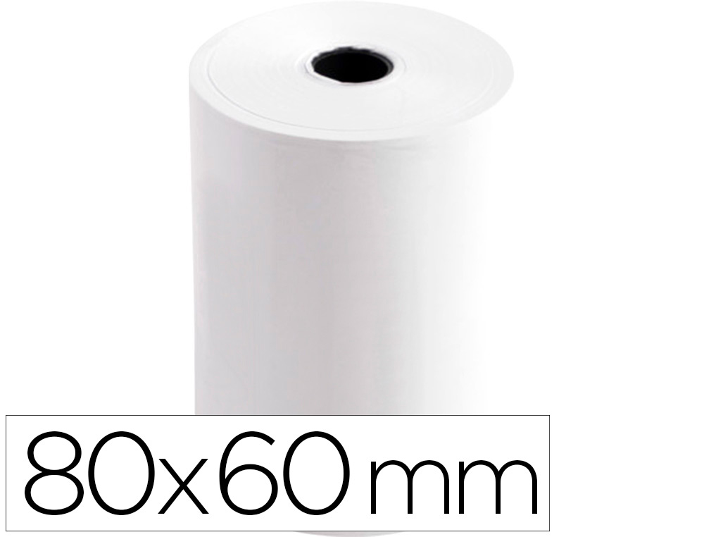 ROLLO SUMADORA TERMICO Q-CONNECT 80 MM ANCHO X 60 MM DIAMETRO SIN BISFENOL A