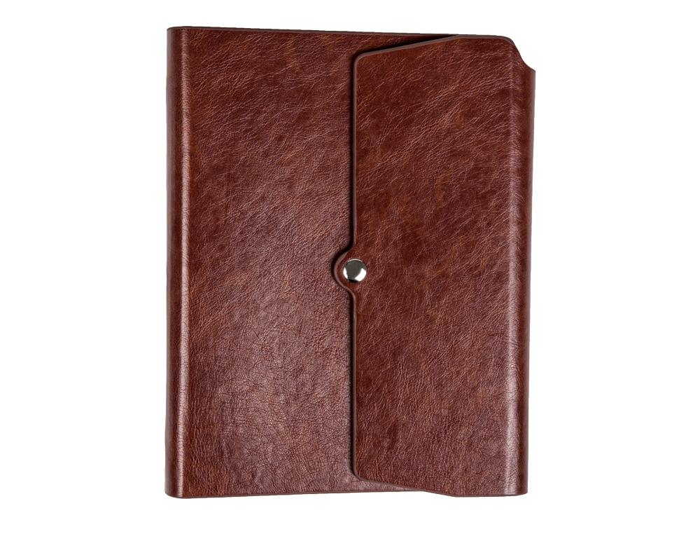 Agenda anillas liderpapel tinde 15x21 cm dia pagina marron simil piel envejecida papel 70 gr