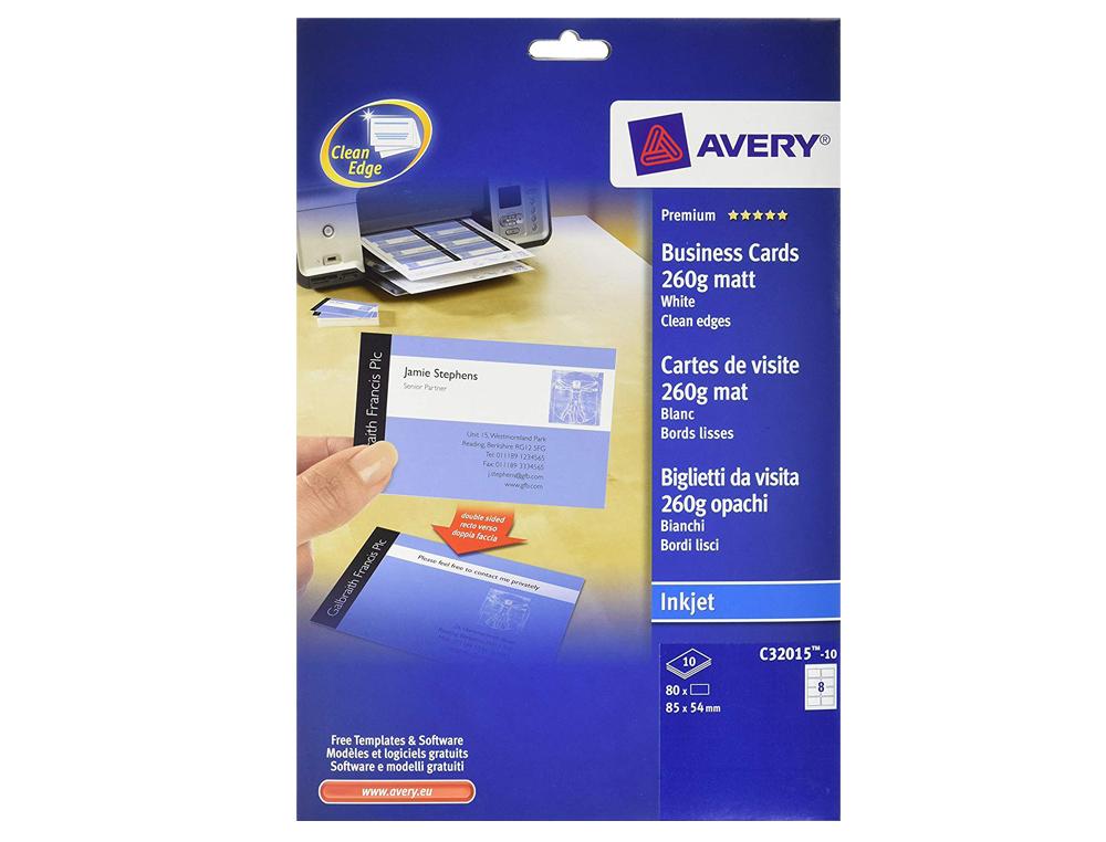 Tarjeta de visita avery blanca mate 85x54 mm imprimible doble cara para ink-jet 260 gr pack de 80