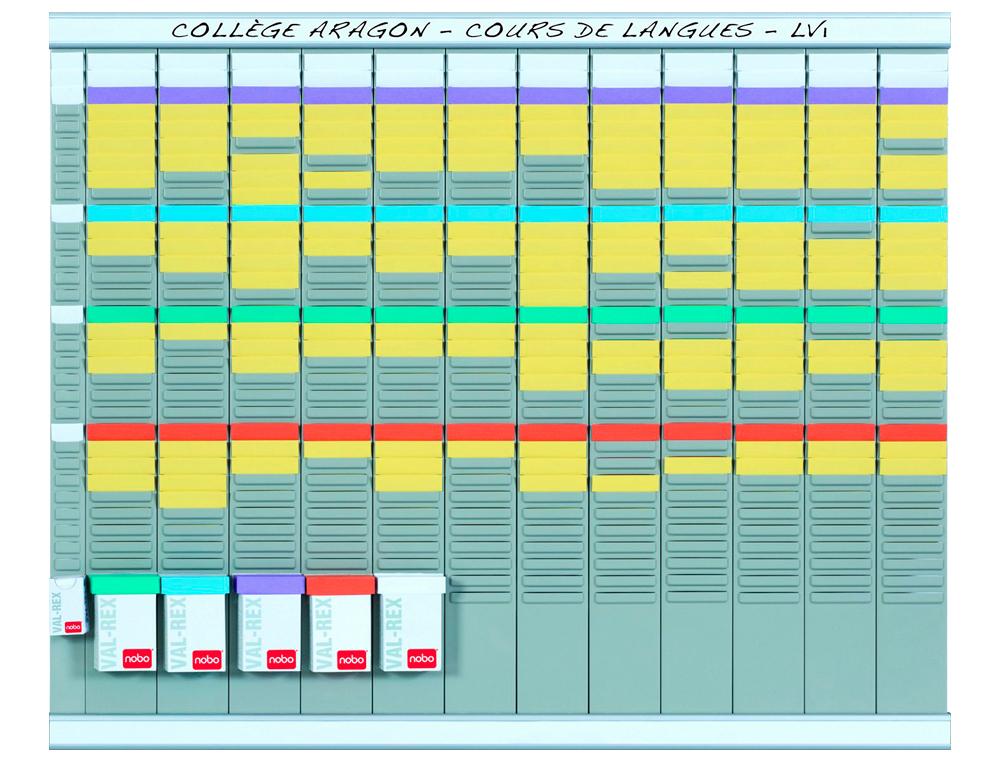 Kit planificacion de tarjetas t nobo 66x80 cm 12 columnas 2x32 ranuras + 500 tarjetas t nº2 colores
