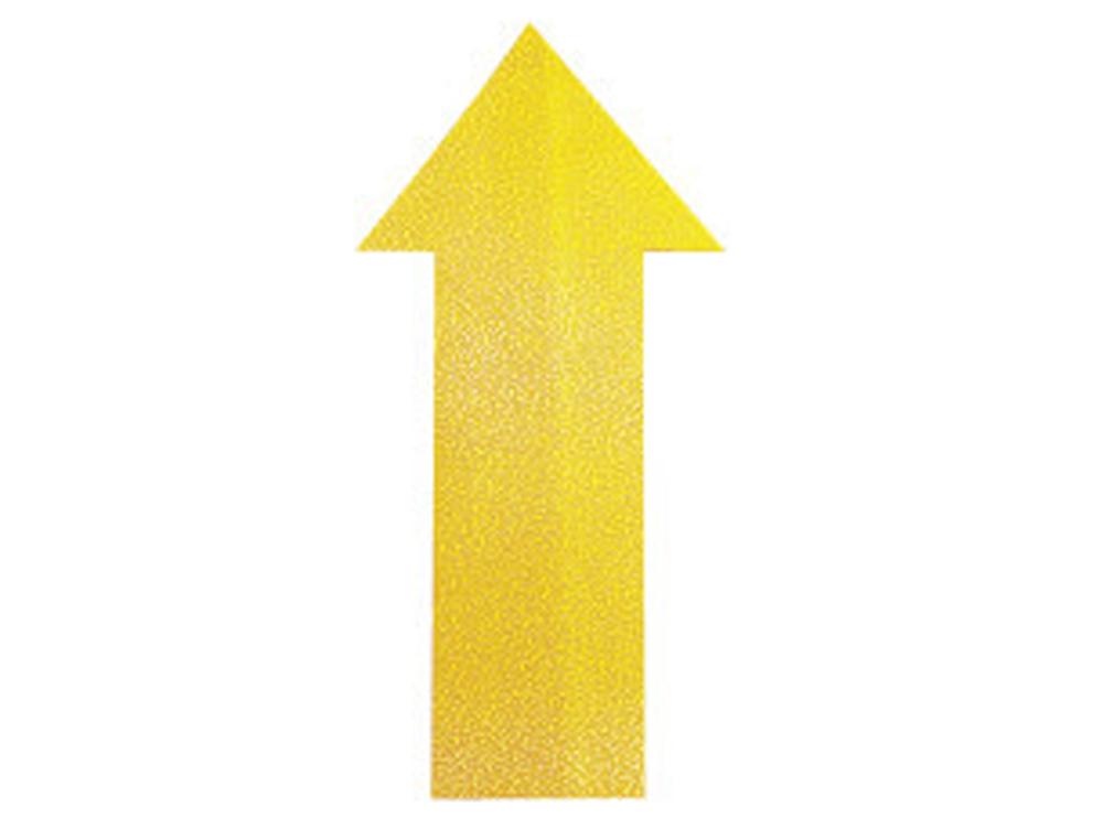 Simbolo adhesivo durable pvc forma de flecha para delimitacion suelo amarillo 200x100x0,7 mm pack de