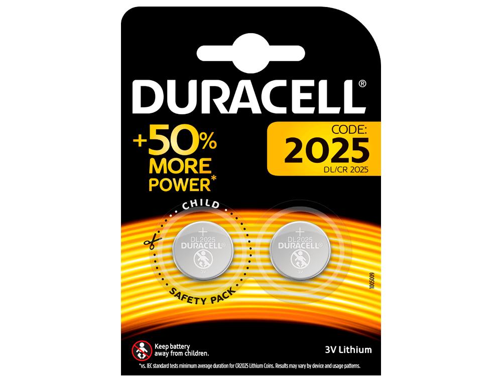 Pila duracell alcalina boton cr2025 blister 2 unidades