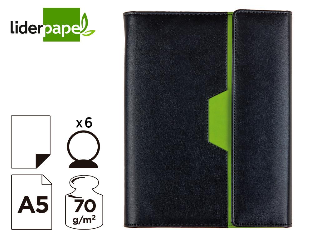 Agenda anillas liderpapel nero 15x21 cm 2021 dia pagina color negro/verde papel 70 gr