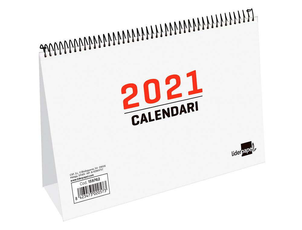 Calendario espiral triangular liderpapel 2021 22x13 cm papel 120 gr texto en catalan