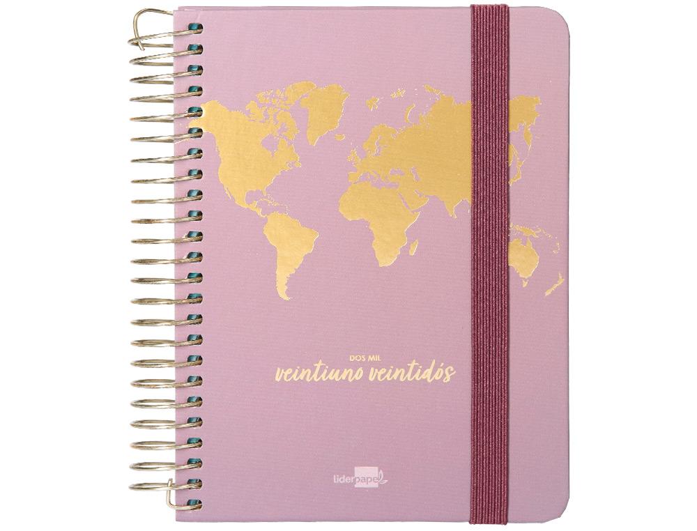 Agenda escolar liderpapel curso 21-22 college classic the world mini bilingue dos dia pagina carton