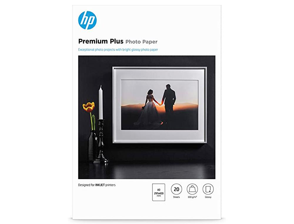 Papel hp foto ink-jet glossy premium a3 300 gr 20 hojas